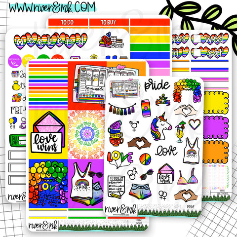 Rainbow Pride Weekly Planner Stickers Kit