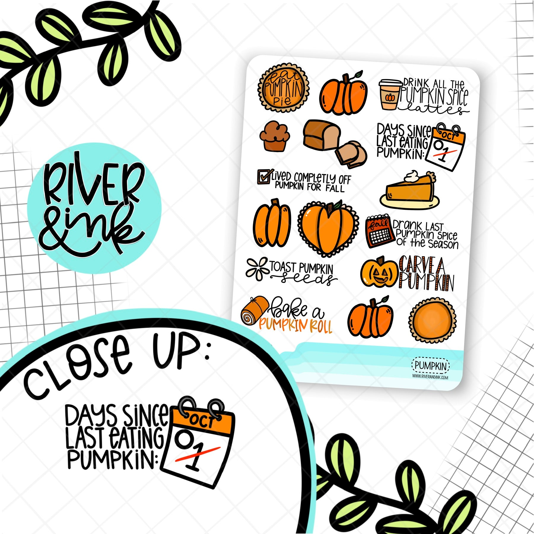 Pumpkin Spice Quote | Hand Lettered Planner Stickers