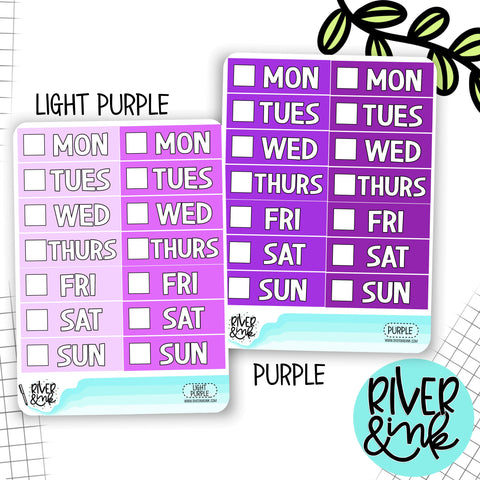 Purple Color Block Date Covers | Planner Stickers