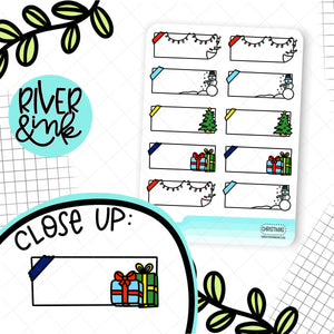 Christmas Quarter Boxes | Hand Drawn Planner Stickers