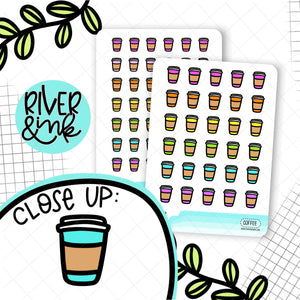 Rainbow Coffee Icons | Planner Stickers