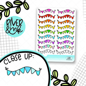 Wavy Banner Rainbow | Hand Drawn Planner Stickers
