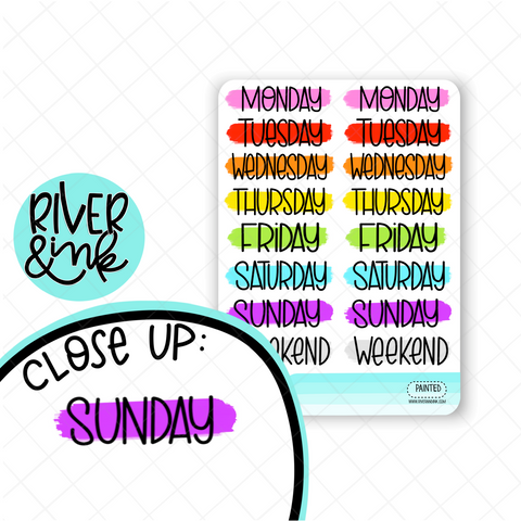Rainbow Painted Date Covers | Hand Lettered Planner Stickers