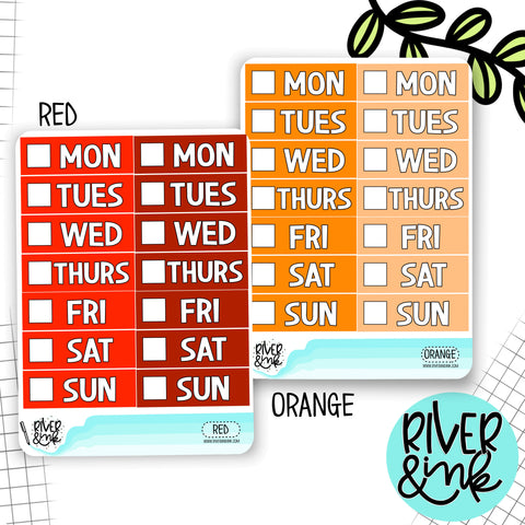 Red Orange Color Block Date Covers | Planner Stickers