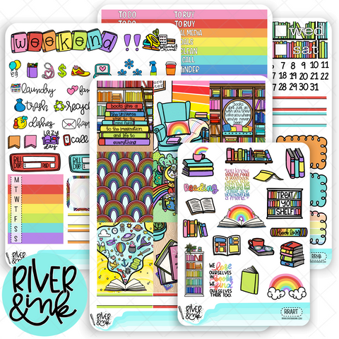 Reading Rainbow| Weekly Vertical Planner Stickers Kit
