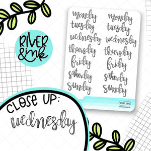 Script Date Covers | Hand Lettered Planner Stickers