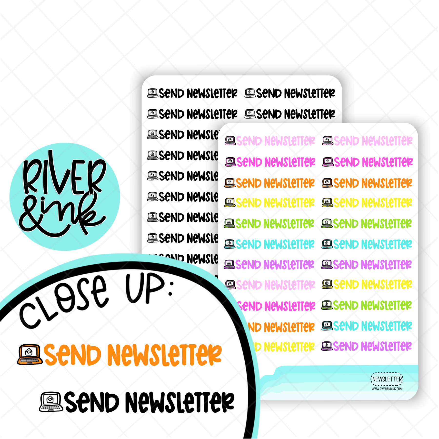 Send Newsletter | Hand Lettered Planner Stickers