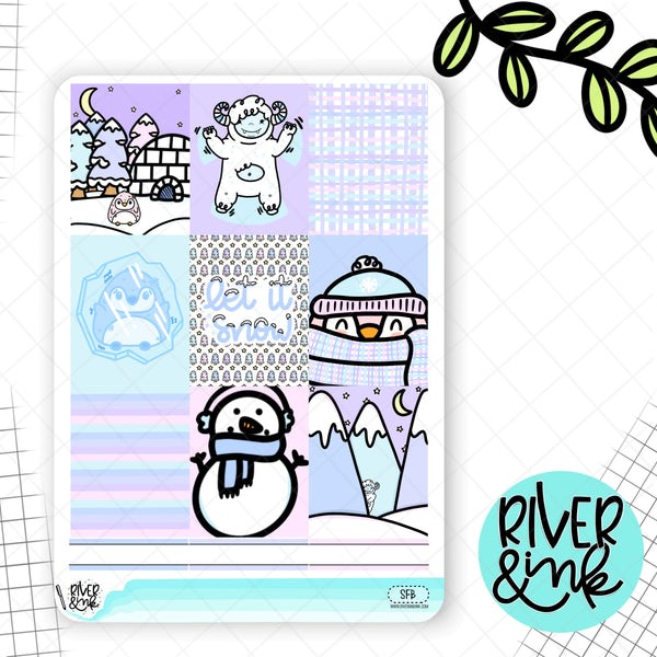Snow Friends | Weekly Vertical Planner Stickers Kit