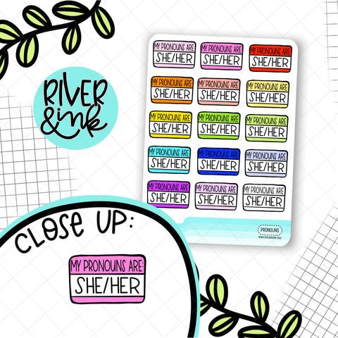 She/Her Pronouns Name Tag | Planner Stickers