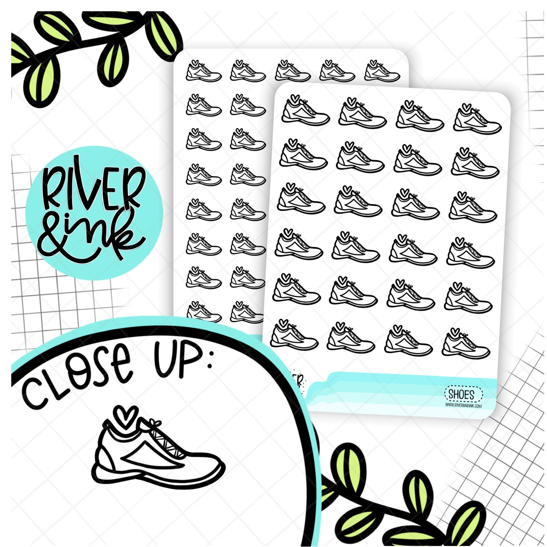 Black & White Shoes Icon | Hand Drawn Planner Stickers