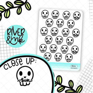 Skull Date Covers | Hand Drawn Planner Stickers
