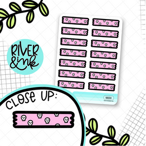 Pink Skull Washi Strips | Hand Drawn Planner Stickers