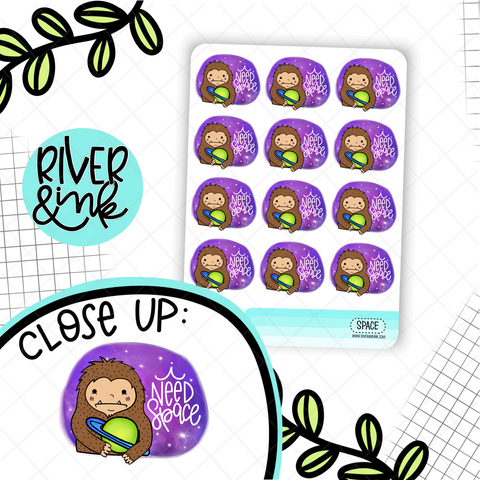 I Need Space Biggie Sass Sasquatch | Hand Drawn Planner Stickers