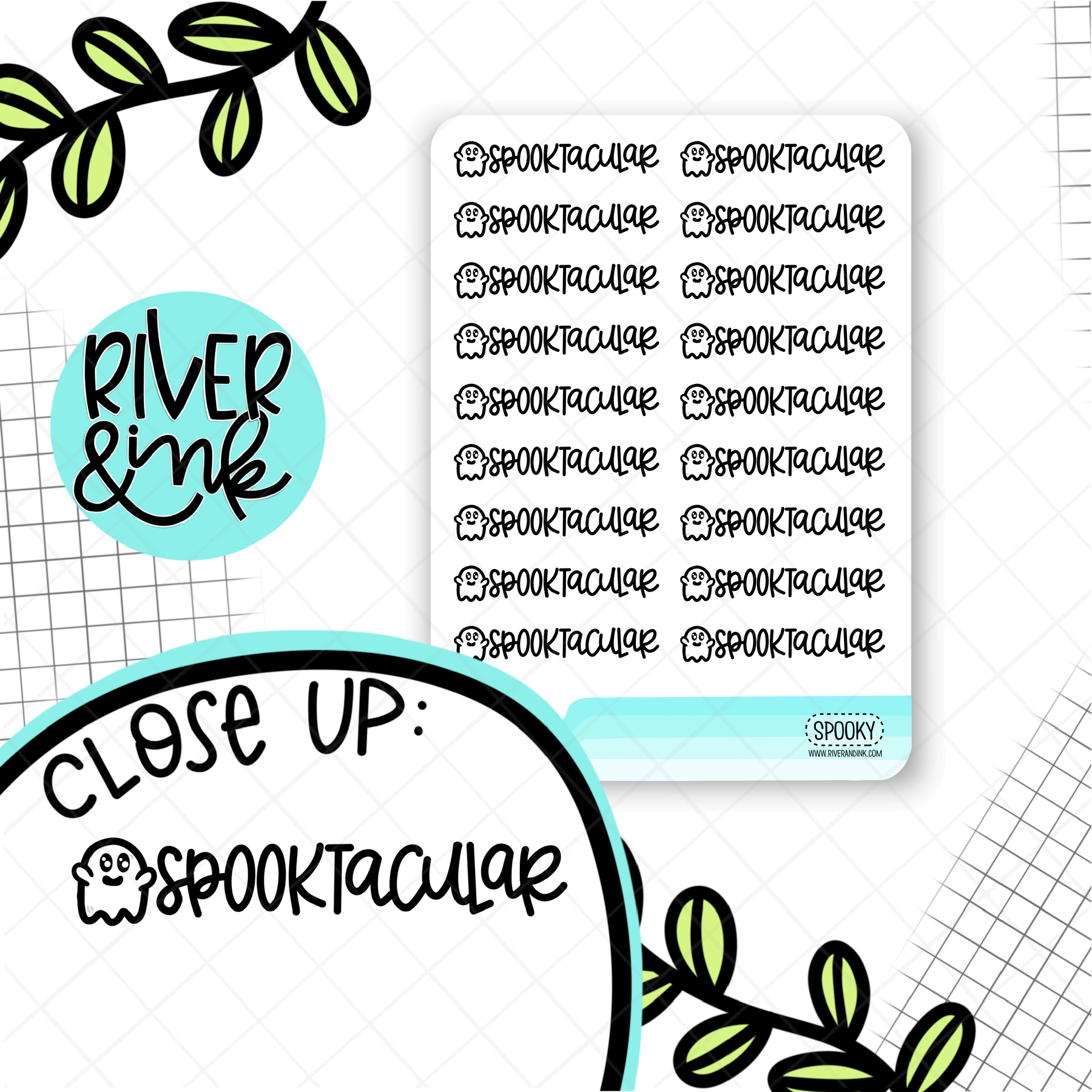 Spooktacular Ghost Pun | Hand Drawn Planner Stickers