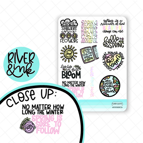 Spring Quotes | Hand Lettered Planner Stickers