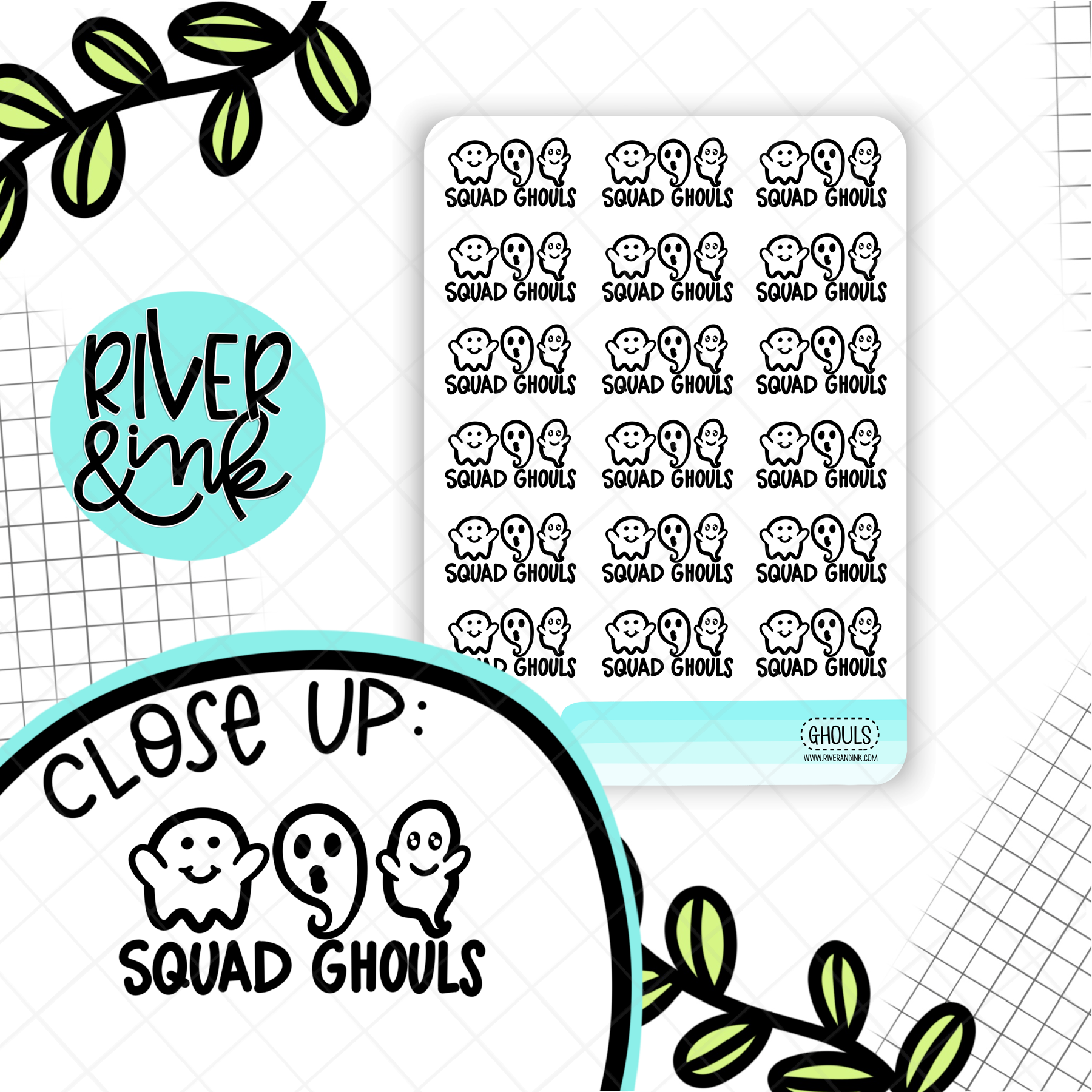 Squad Ghouls Ghost Pun | Hand Drawn Planner Stickers