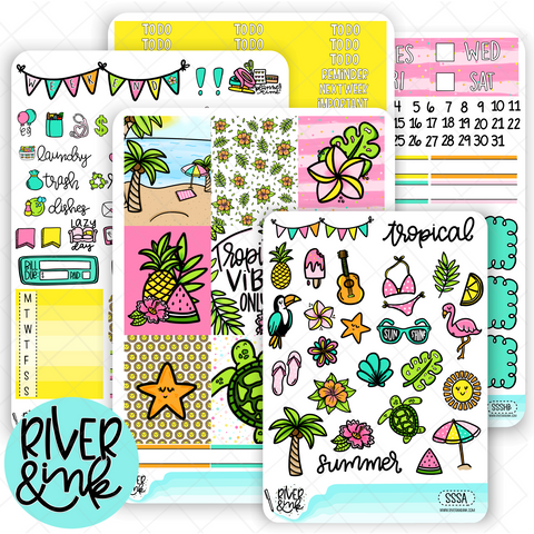Sun Sand Sea | Vertical Weekly Planner Stickers Kit