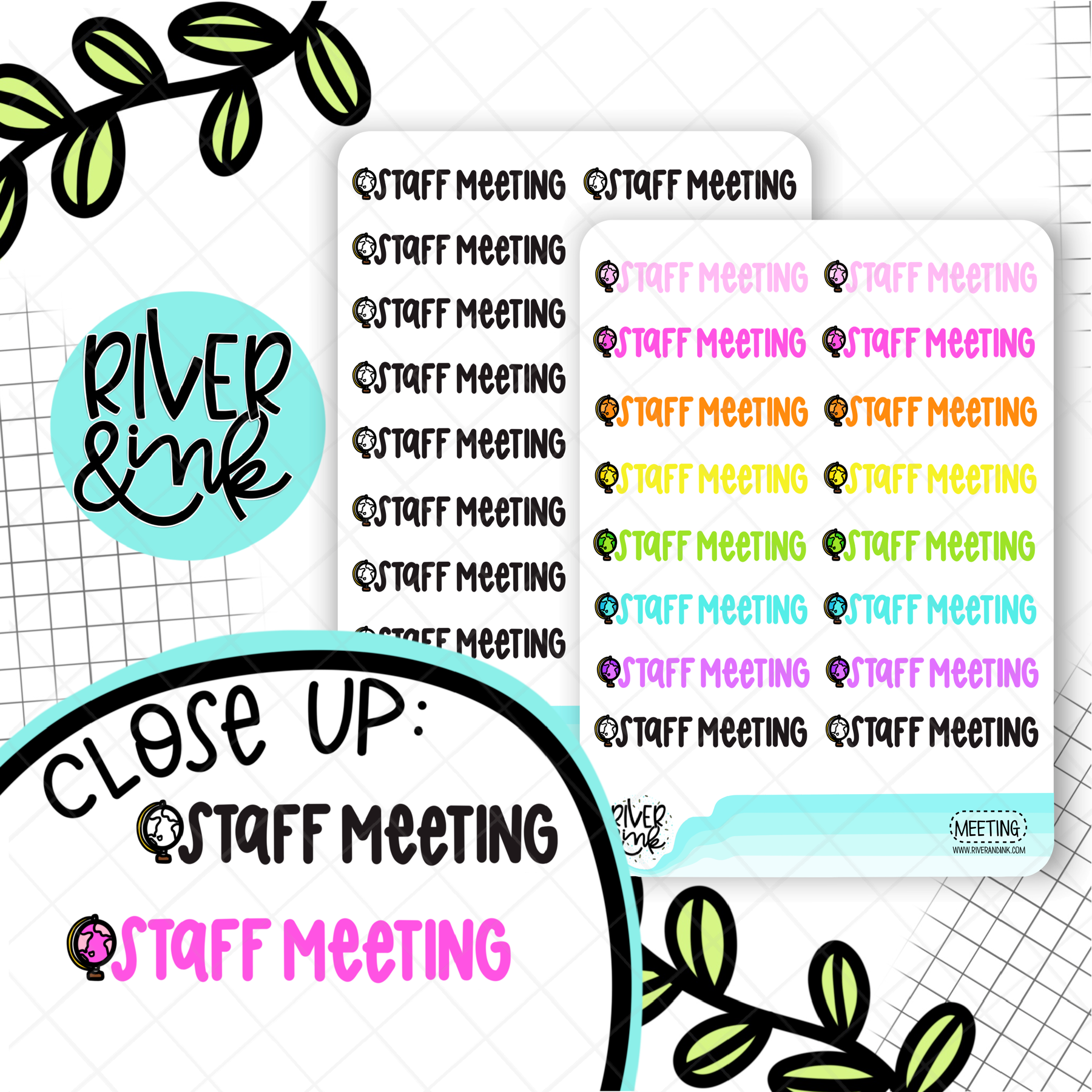 Staff Meeting | Hand Lettered Planner Stickers