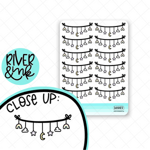 Stars and Moon Banner | Hand Drawn Planner Stickers