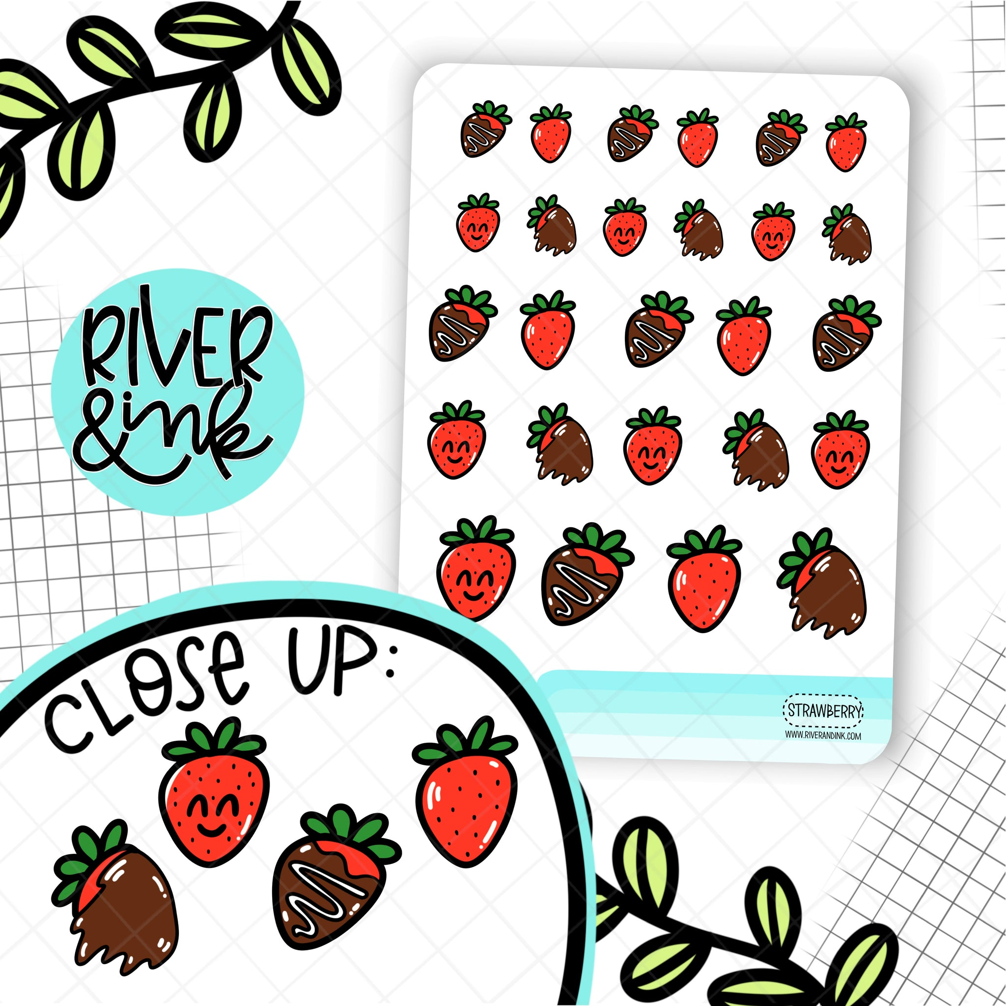 Chocolate Covered Strawberries | Hand Drawn Planner Stickers