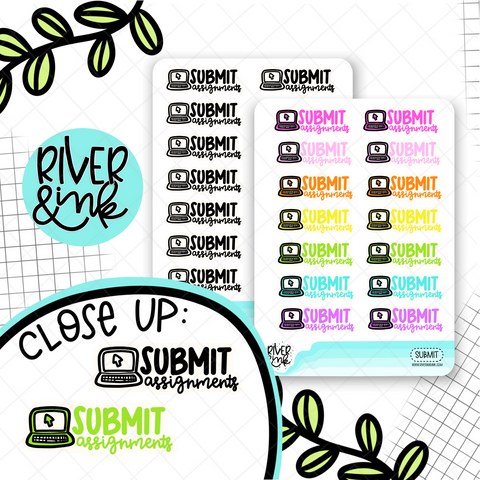 Submit Assignments | Hand Lettered Planner Stickers