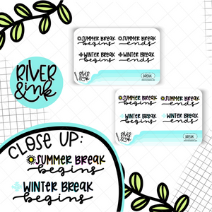 Summer Winter Break | Hand Lettered Planner Stickers