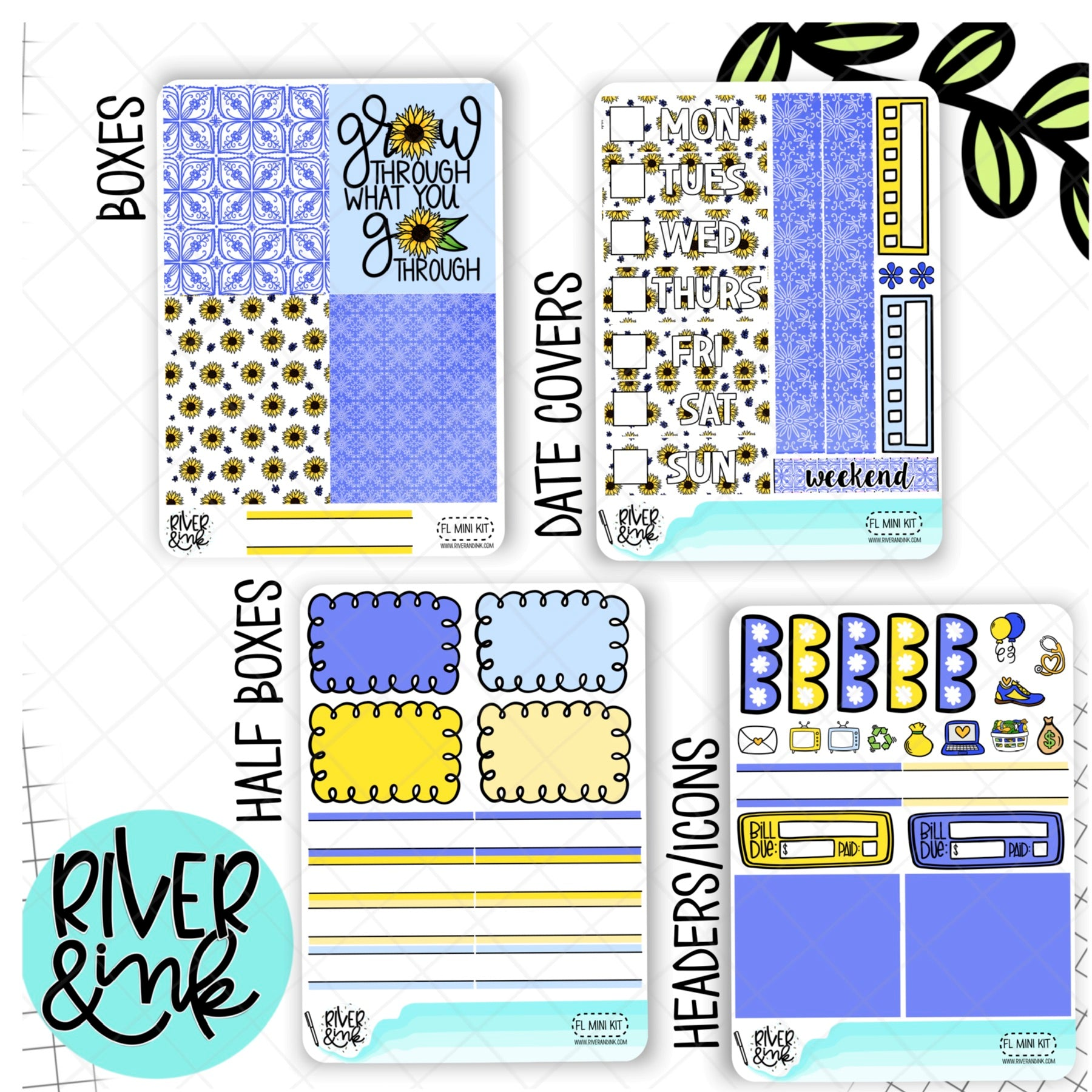 Find the Light Sunflower | Mini Weekly Planner Stickers Kit
