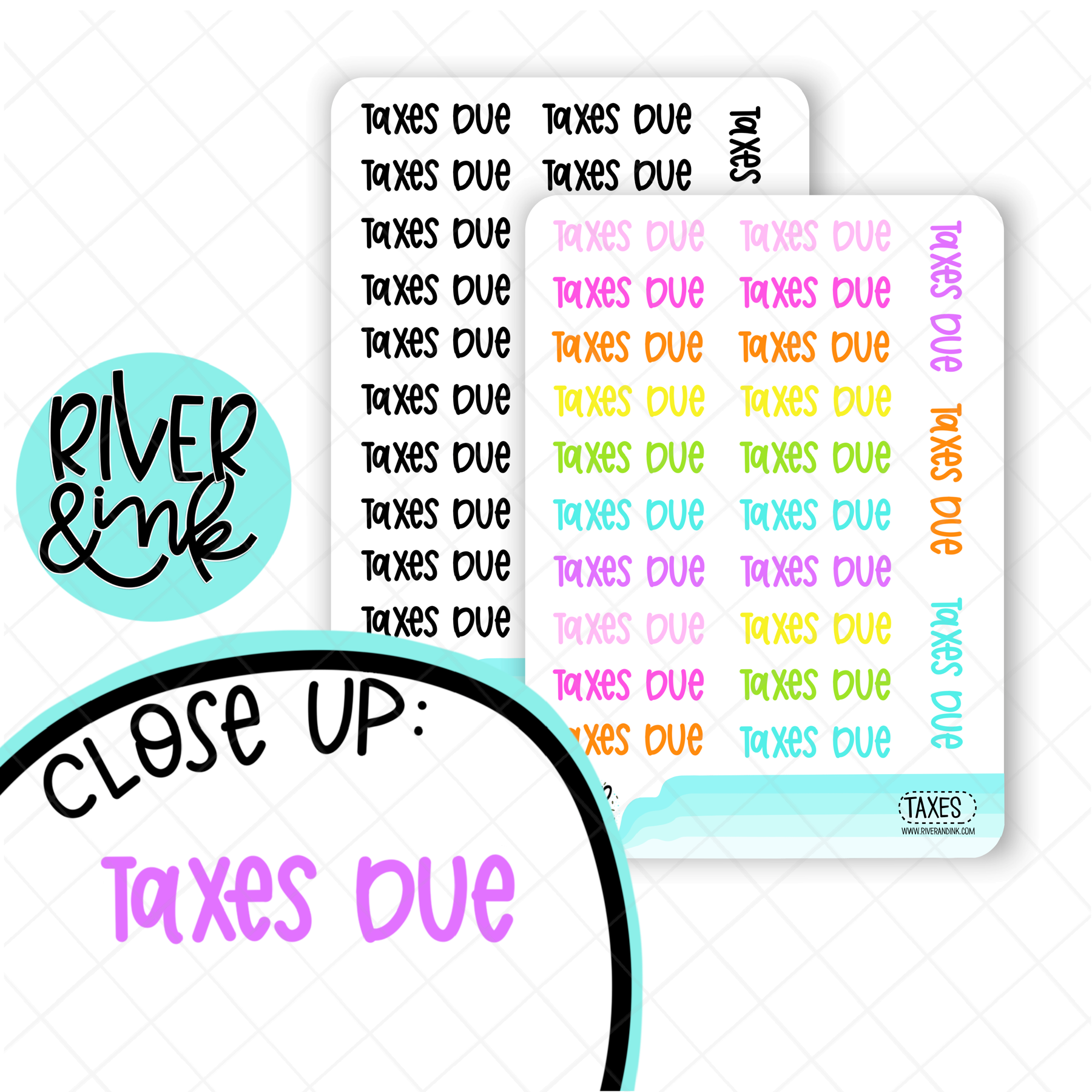 Taxes Due | Hand Lettered Planner Stickers