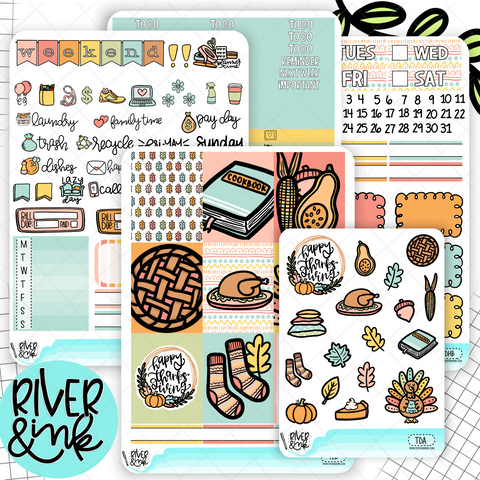 Turkey Day Thanksgiving | Weekly Vertical Planner Stickers Kit