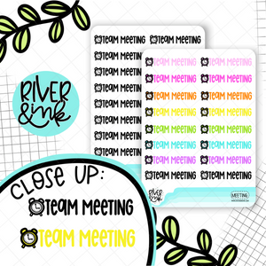 Team Meeting | Hand Lettered Planner Stickers