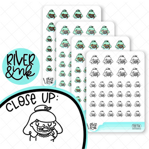 Brush Teeth Planner Characters | Hand Drawn Planner Stickers