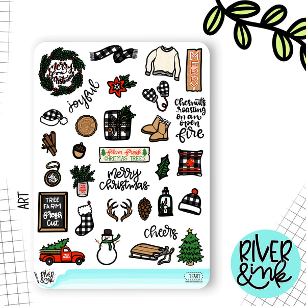 Tree Farm Christmas Weekly Planner Stickers Kit