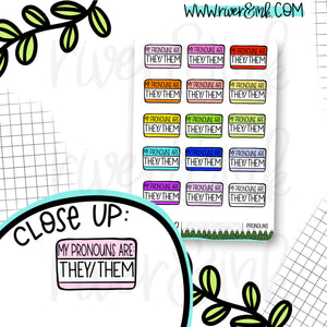 They/Them Pronoun Name Tag Planner Stickers