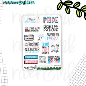Transgender Pride Quote Planner Stickers