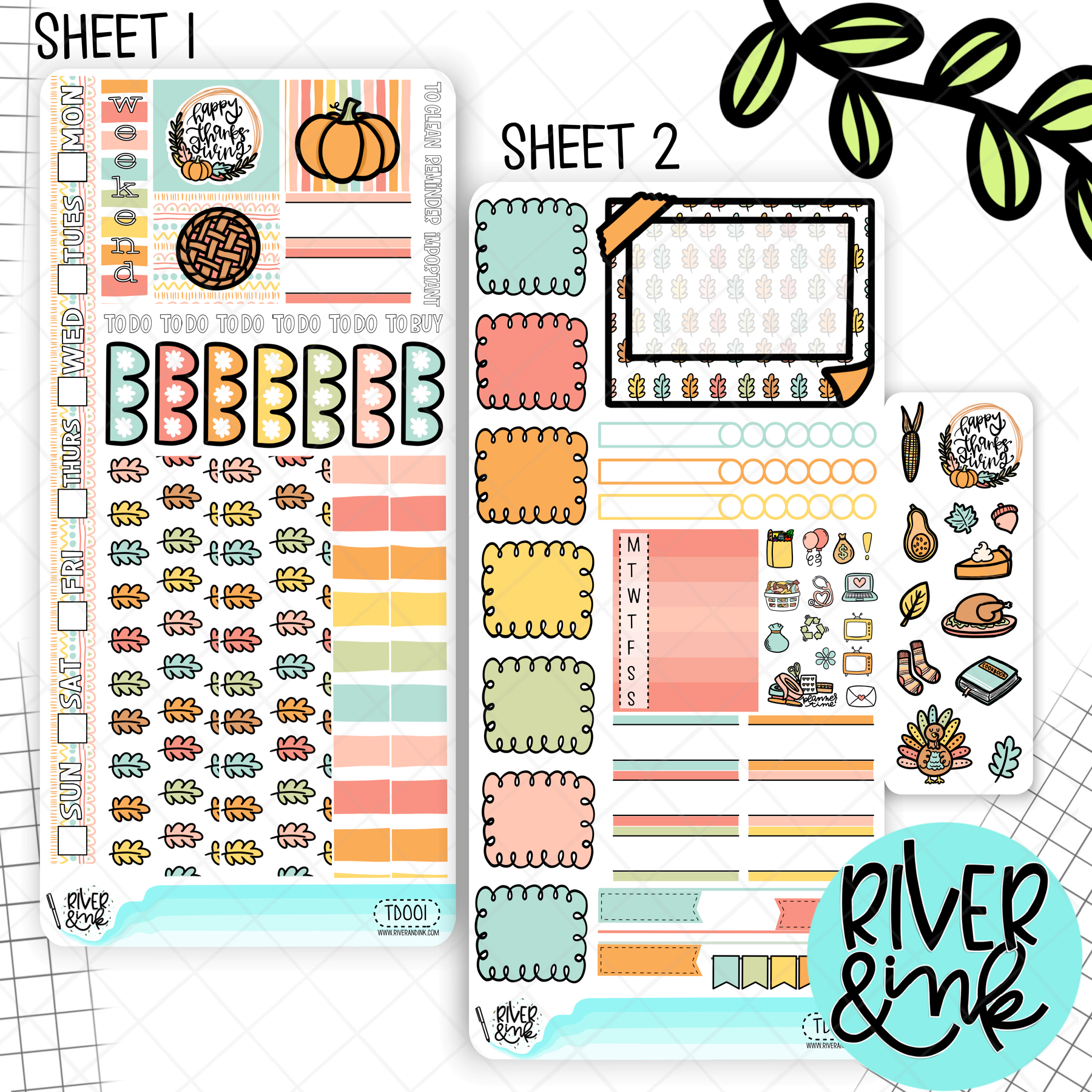 Turkey Day Thanksgiving | Hobonichi Weeks Sticker Kit  Planner Stickers