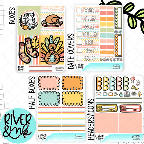 Turkey Day Thanksgiving | Mini Weekly Planner Stickers Kit