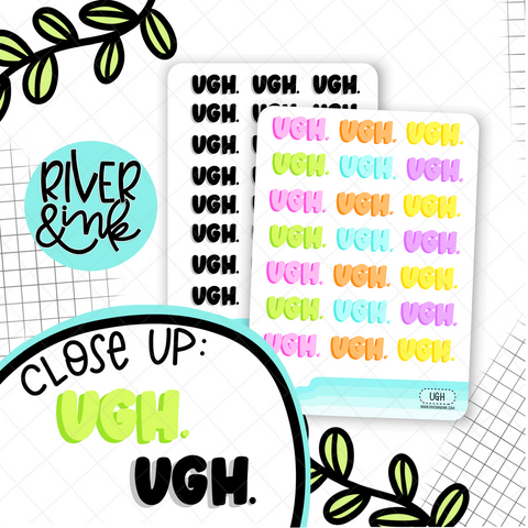 Ugh Bubble Word | Hand Lettered Planner Stickers