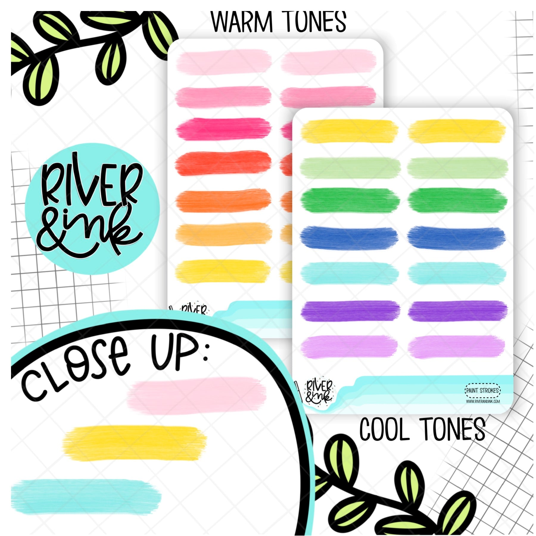 Paint Stroke Quarter Boxes | Hand Drawn Planner Stickers