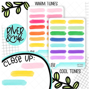 Paint Strokes Quarter Boxes | Hand Drawn Planner Stickers