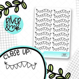 Wavy Banner Black & White | Planner Stickers