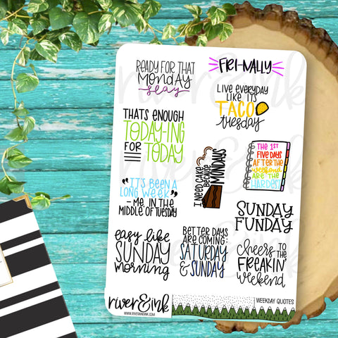 Weekday Quotes Planner Stickers