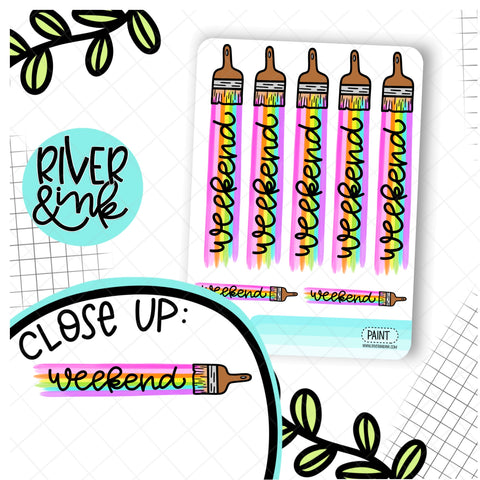 Weekend Paint Brush Rainbow Banner | Hand Drawn Planner Stickers