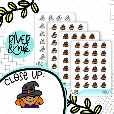 Witchy Planner Characters | Hand Drawn Planner Stickers