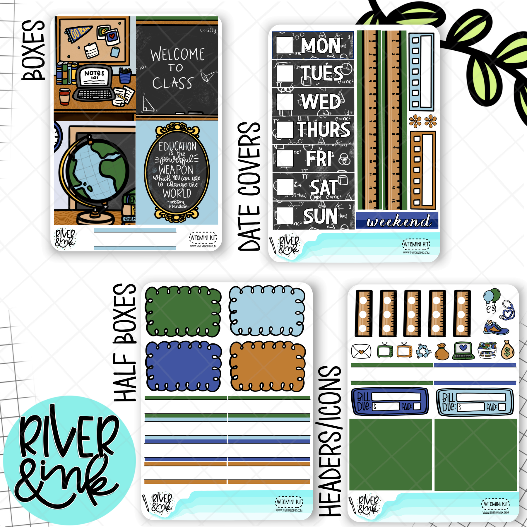 Welcome To Class | Mini Weekly Planner Stickers Kit