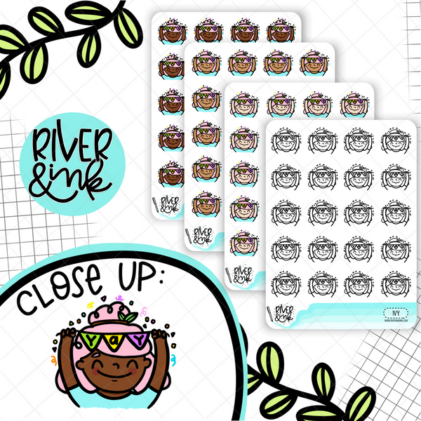 Yay Celebration Planner Characters | Hand Drawn Planner Stickers