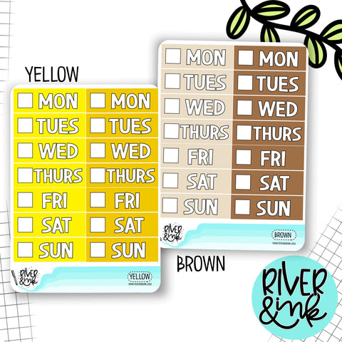 Yellow Brown Color Block Date Covers | Planner Stickers