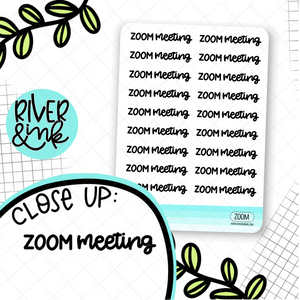 Zoom Meeting Script | Hand Lettered Planner Stickers