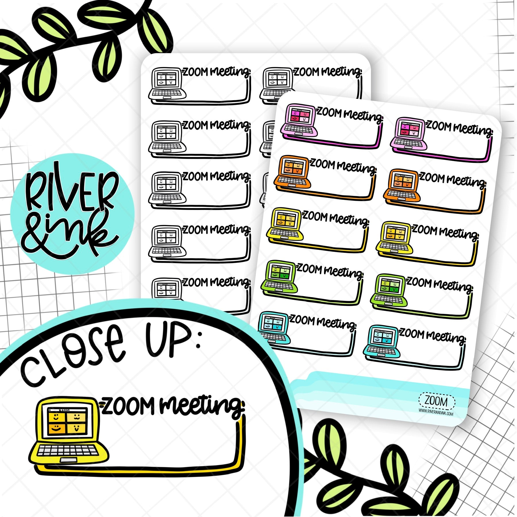 Zoom Meeting Boxes | Hand Lettered Planner Stickers