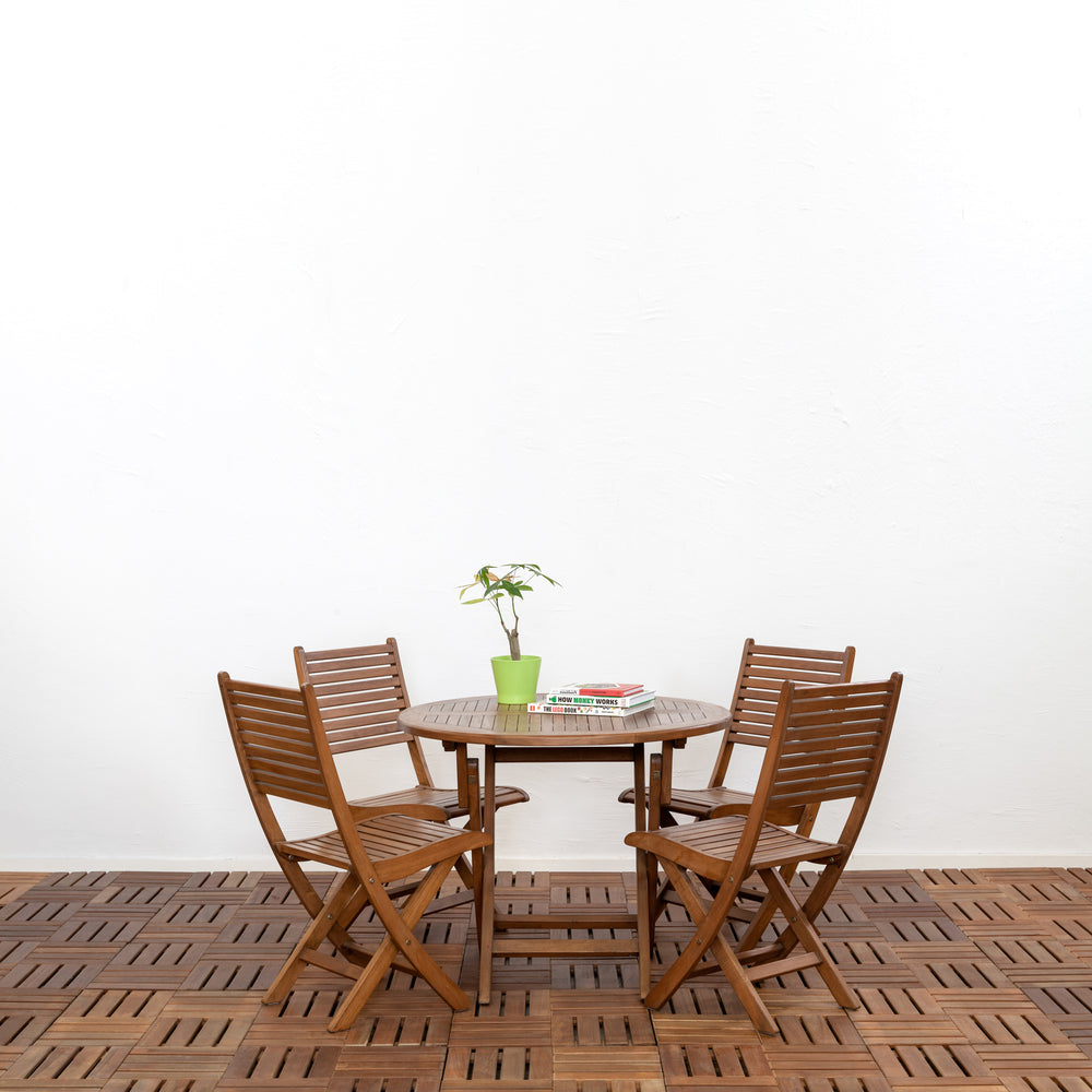 Kent Round Outdoor Folding Dining Table Set Cambium Store