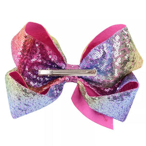"8"" Sequin Rainbow JoJo Bow"